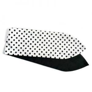 brede wired haarband van de klassieke stof wit met zwarte polkadots en aan de andere zijde effen zwart