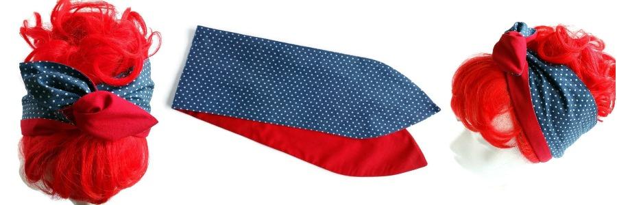 brde handgemaakte haarband van stoere denim met kleine witte polkadots en effen rood
