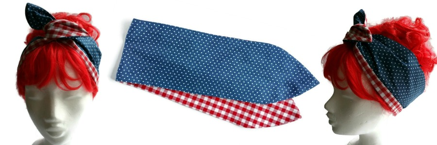 handgemaakte retro geinspireerde wired haarband van denim met witte mini dots en aan de andere zijde rood met witte ruitjes