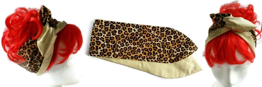 handgemaakte retro geinspireerde wired haarband van luipaardprint en goudstof