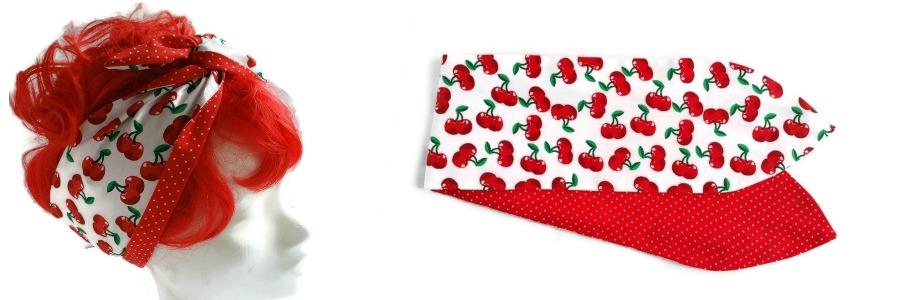 handgemaakte retro geinspireerde wired haarband van witte katoen met rode kersjes en aan de andere zijde rode stof met witte minidots