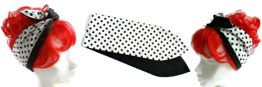 handgemaakte retro geinspireerde wired haarband in de klassieke stof wit met zwarte polkadots en aan de andere zijde effen zwart