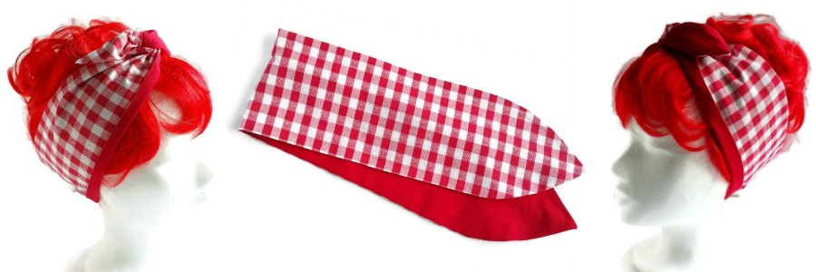 handgemaakte brede haarband van rode gingham ruit en effen rood