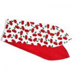 brede haarband van witte katoen met rode kersjes en aan de andere zijde rode stof met witte mini dots