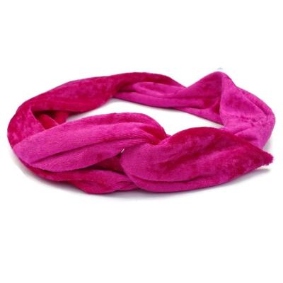 fuchsia roze velours haarband bandana bandeau met aluwire