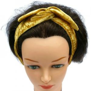 handgemaakte haarband bandana bandeau van goudkleurige velours
