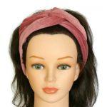 handgemaakte haarband van oud roze nicky velours met aludraad om een retro, boho of geheel eigen stijl mee te creëren