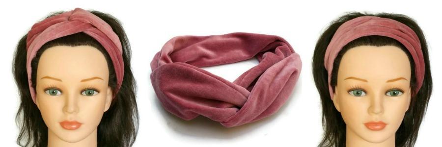 handgemaakte velours haarband van oud roze nicky velour met aludraad voor een retro of boho stijl