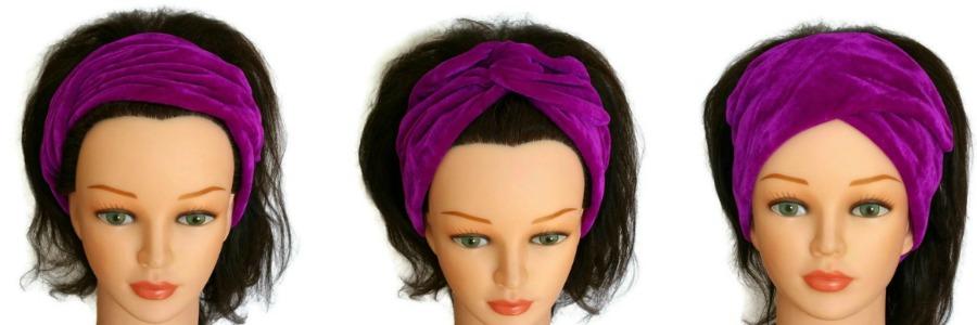 handgemaakte velours haarband/bandana waarmee je verschillende stylen kunt creëren van retro tot trendy