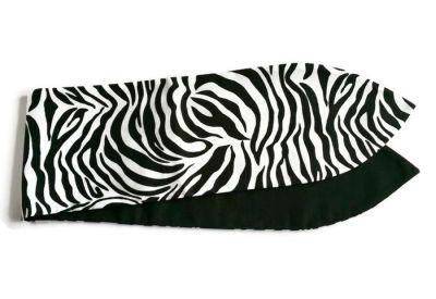 haarband bandana in Vintage Retro style met aludraad in zebra print en effen zwart katoen