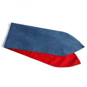 brede vintage geinspireerde wired pinup haarband van stoere denim met witte minidots en effen rood katoen