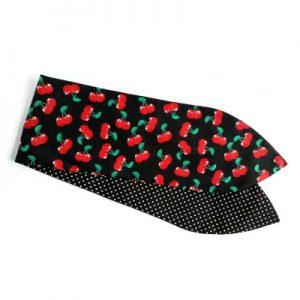 handgemaakte haarband shawl met aludraad in kersenprint incombinatie met minidots zwart