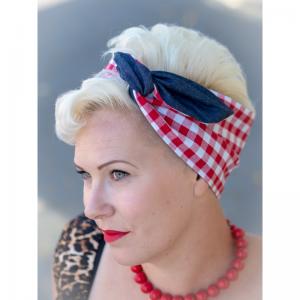 handgemaakte brede wired haarband EllyMay gemaakt van rode ruit in combinatie met denim