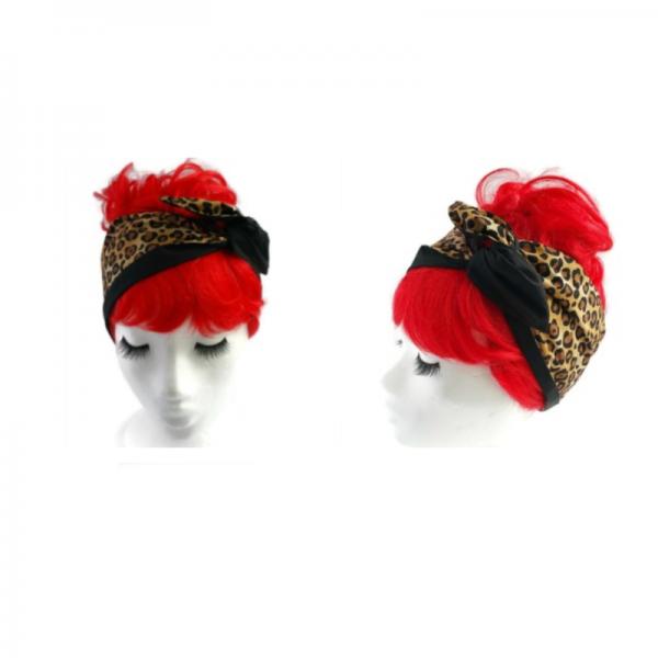 handgemaakte haarband met aludraad in luipaard print en effen zwart