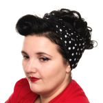 handgemaakte brede wired haarband van katoen zwart met witte stippen/polkadots