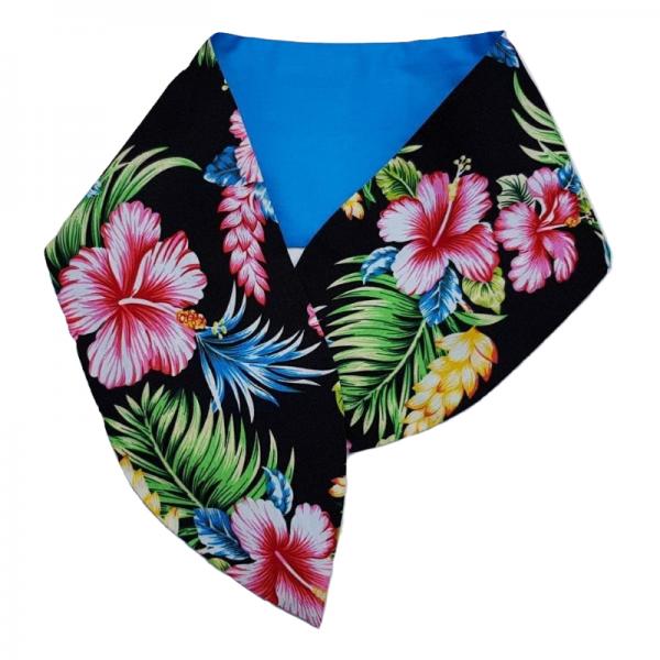 brde pin-up haarband met aludraad voor gebruiksgemak met Tiki Flowers print in combinatie met aqua blauw