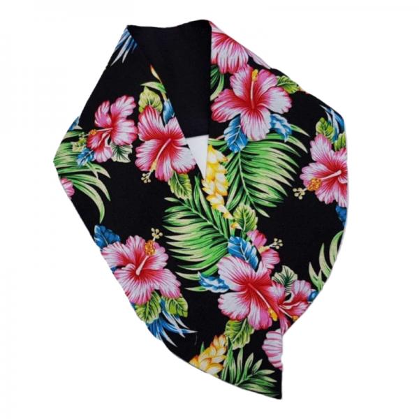 brede handgemaakte haarband met aludraad voor extra gebruiksgemak in Tiki Flowers print met effen zwart