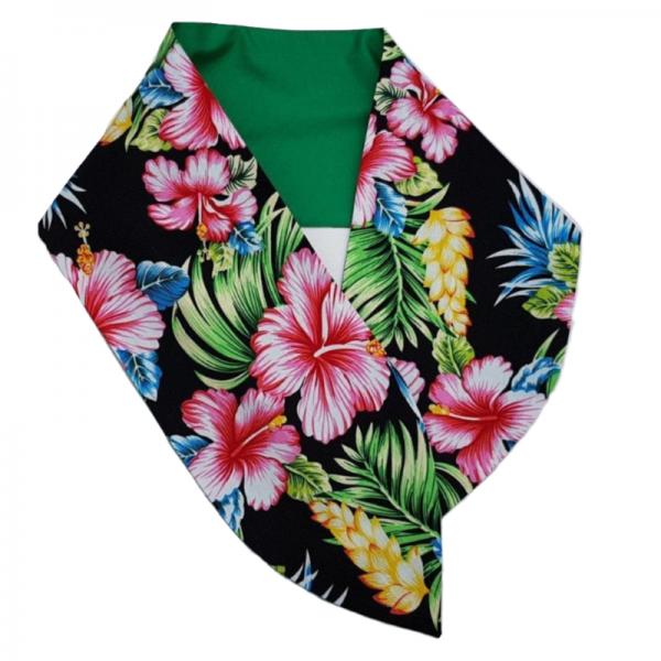 brede haarband met aludraad in Tiki flowers met als achterzijde groen