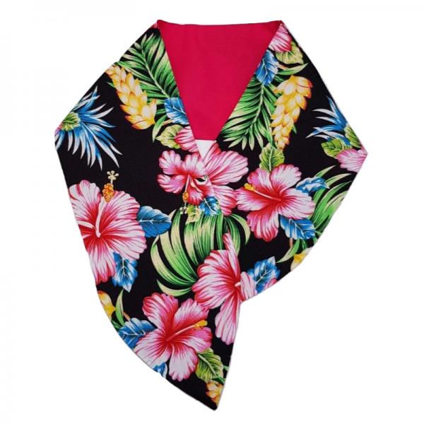 brede haarband met Tiki flowers in combinatie met hot pink