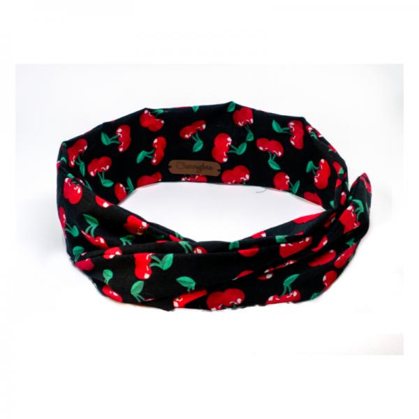 handgemaakte xl wired haarband in vrolijke kersenprint