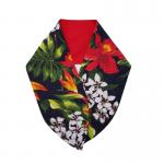 handgemaakte haarband met aludraad met tiki bloemen print en effen rood