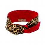 handgemaakte wired haarband luipaardprint met effen rood