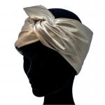 handgemaakte haarband van faux goud leer met aludraad