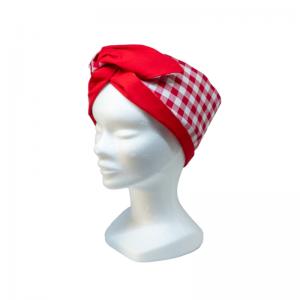 brede wired haarband rode ruit in combinatie met effen rood