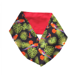 handgemaakte brede haarband shawl met aludraad in katoen met tropische papegaaienprint, montera en palmblad