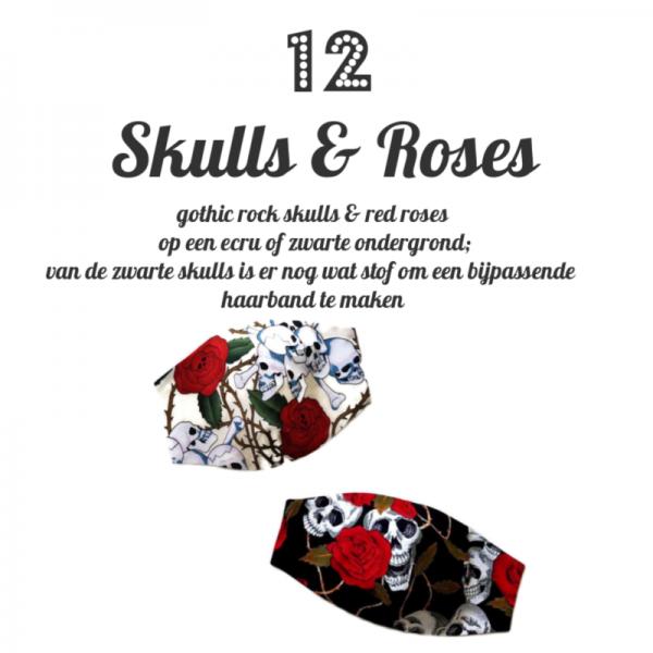 mondkapje van katoen met gothic rock print skulls & roses in ecru of zart