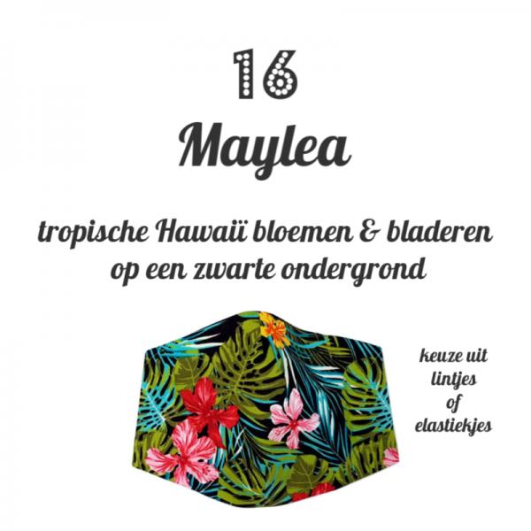 handgemaakt mondkapje van katoen met print van Hawaii bloemen en bladeren naar keuze met elastieken of lintjes
