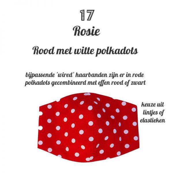 niet medisch mondkapje passend bij de 'wired'haarbanden bandan's in rode polkadots