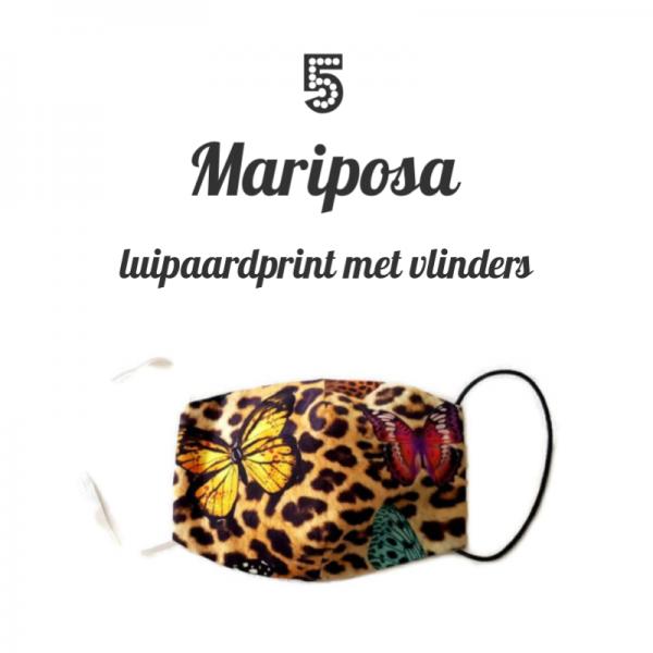 katoenen mondkapje van luipaardprint met vlinders
