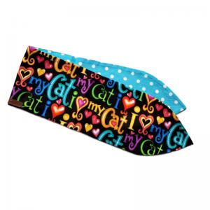 handgemaakte haarband met aludraad en kkleurijke kattenprints; een must voor ieder kattenliefhebster