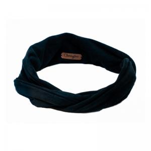 Extra lange haarband van faux zwarte suede met aludraad
