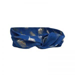 Extra lange haarband/bandeau in denim stof met print van gouden veertjes