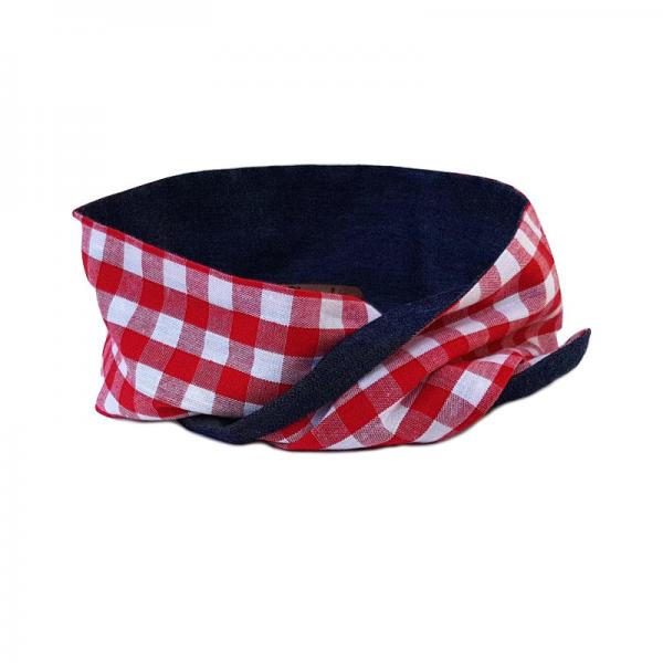 handgemaakte smalle wired haarband bandana in rode ruit en denim