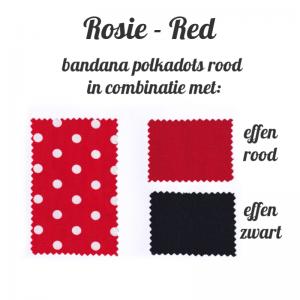 kleurenstaal voor bandana met polkadots rood combinatiemogelijkheden