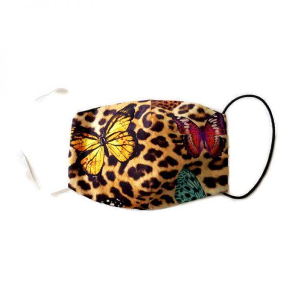 handgemaakt katoenen mondkapje van luipaardprint met vlinders