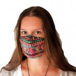 handgemaakt mondkapje van katoen en kleurrijke pailettenstof