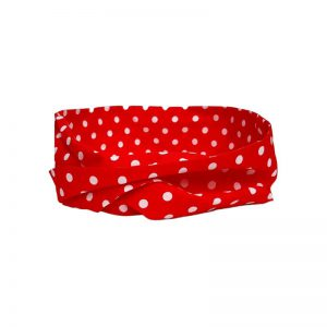 Rosie extra lange wired bandana/haarband in rode polkadots