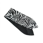 handgemaakte katoenen wired haarband in zebraprint gecombineerd met effen zwart, effen rood of minidots zwart